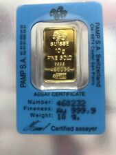 10 gram PAMP Suisse gold bar 999.9 Pure In Sealed Assay