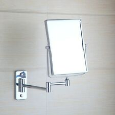 Chrome Square Wall Mounted Foldable Make Up Mirror Beauty Magnifying Mirror