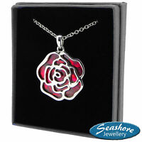Red Rose Necklace Abalone Shell Pendant Silver Art Deco Fashion Jewellery 18""