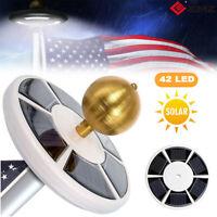 USA Flag Pole 42LED Solar Powered Automatic Light Night Super Bright Flagpole