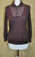 Poetry Ladies Maroon Sweater Knit Top Blouse 15% Cashmere 85% Silk UK 12
