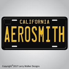 AEROSMITH Black 1960s Vintage California Aluminum Vanity License Plate Tag