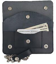 "Mens Trucker Motorcycle 7"" Biker Multi Compartmnet Chain Genuine Leather Wallet"