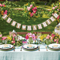 Just Married Bunting Banner Garland Home Garden Wedding Party Hanging Sign