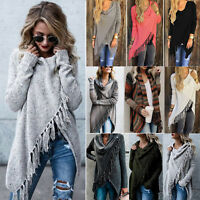 Women Tassel Loose Knitted Cardigan Irregular Poncho Shawl Coat Jacket Sweater U