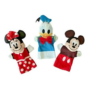 """Disney Mickey Mouse Minnie Donald Duck Character Plush 10"""" Hand Puppets Set of 3"""