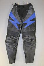 BLACK, BLUE & SILVER LEATHER BIKER TROUSERS SIZE 10: WAIST 28IN/INSIDE LEG 26IN