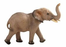Elephant Figurine - Smooth Stone feel to Touch, Golden Tusks, Grey-Brown Colour