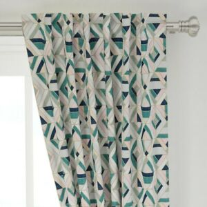 """Geometric Pink And Green Vintage Geo Tile 50"""" Wide Curtain Panel by Roostery"""