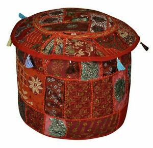 Handmade Patchwork Ottoman Pouffe Cover Comfortable Cotton Foot Stool Cover