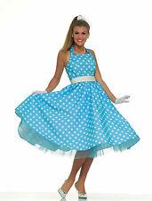 50's Summer Daze Costume Blue & White Polka Dot Dress Adult Size Standard