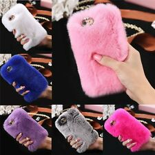 Luxury Rose Soft Fur Faux Rabbit Winter Warm Treasure Case Cover for iPhone 8