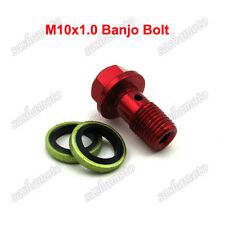 Red M10x1.0 Banjo Bolt For Pit Dirt Bike Go Kart Moped Scooter Brake Oil Cooler