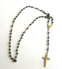 Vintage Rosary INRI  And IHS Black Plastic Beads Catholic Christianity