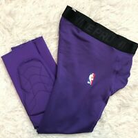 NIKE NBA PRO HYPERSTRONG PADDED TIGHTS PANTS 3/4 Men's Sz M Team Issued LAKERS