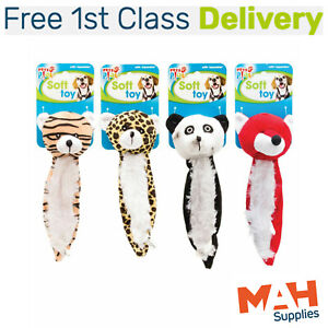 Dog Toy Squeaker Wild Animal Selection Set of 4 Soft Plush - For Cats Too