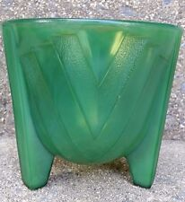 HTF VINTAGE ART DECO MCKEE GLASS VERY DARK JADITE PLANTER JARDINIERE BULB BOWL