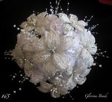 Lily Bridal Bouquet Wedding FRENCH BEADED FLOWERS Roses Beads Crystal Silver
