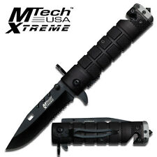 MTech Bayonet Style Tactical Rescue Folding Knife - Black & Grey