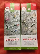 Lot 2 Sets 50 Clear & Multicolor Mini Lights Green Wire Indoor Outdoor Christmas