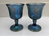 Set Of 2 Vintage Indiana Carnival Glass Iridescent Blue Harvest Grape Goblets
