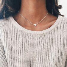 Women Jewelry Pendant 925 Silver Gold GF Heart Choker Chunky Chain Bib Necklace