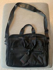 TUMI Alpha Black Ballistic Expandable Laptop Briefcase Computer Bag, 26141DH