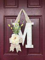 Front door wreath, Monogram, Letter Wreath, Rustic, White washed monogram, Decor