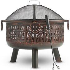VonHaus Geo Fire Pit Decorative Black Steel with Spark Guard and Poker