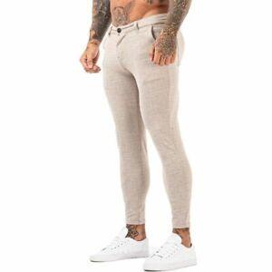 GINGTTO Men Skinny Fit Stretch Chino Trousers Flat Front Slim Stretch Khaki Pant