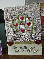 Handmade Cross Stitch Greetings Card - Wedding Day / Same Sex Marriage - Hearts