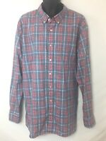 Sonoma Brand Men's Blue-Gray & Salmon Plaid Button Up Long Sleeve Shirt Size XXL