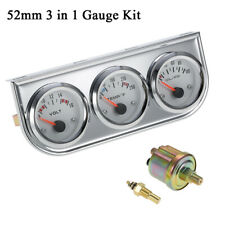 2' Chrome Triple 3 Gauges Set Volt Water Temperature Oil Pressure 3 in 1 W7V3