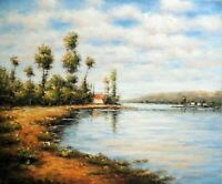 Italian Lake Country Homes Shore Trees Clouds 20X24 Rural Oil Painting STRETCHED