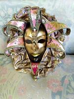 Giullare - Maschera veneziana tipica indossabile in cartapesta, cuoio e broccato
