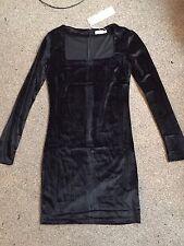 Bleu Vanille Velours Noir Mini Robe Encolure Carrée Gothique Taille 8 Bnwt
