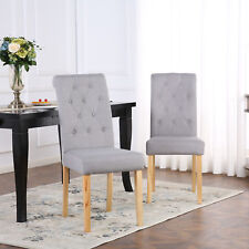6 x DELUXE FABRIC DINING LIVING ROOM CHAIRS SCROLL HIGH BACK LIGHT GREY