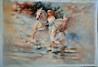 """Lady and the Horse"" - Handmade Oil Painting on Canvas, 62cmX92cm"