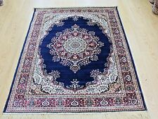 NAVY Traditional Persian Oriental Silk Like Machin Washable Rug Now 25% OFF RRP