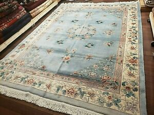 9x12 CHINESE RUG VINTAGE PEKING AUBUSSON AUTHENTIC 100% WOOL ORIENTAL RUG FINE