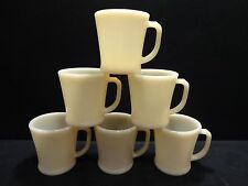 Rare Set of 6 Fire King Ivory Flat Bottom OVEN GLASS Mugs in Mint Condition
