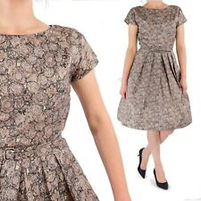 1950's Vintage A Line Dress Fit N Flare Brown Abstract XS 0 2 Pin Up Rockabilly