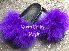 Women's Handmade Big Oversized Fur Fluffy Sliders Purple Size 3,4,5,6,7, New