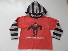 BOYS MONKEY MONSTER SKATE HOODED TOP - RED SOFT COTTON - NEXT - 5 YEARS - 110 CM