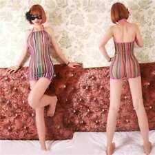 Women Lingerie Rainbow Fishnet Babydoll Halter Stretch Chemise Mini Dress