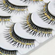 4ce6c4d4b0f 5 Pairs 3D Gold Glitter Long False Eyelashes Stage Makeup Fake Eye Lashes  Exotic