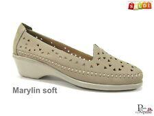 Mocassini scarpe da donna con zeppa bassa estivi in nabuk leggeri classici beige