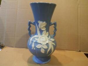 "Weller Pottery Aqua Blue 13"" 2 Handle Vase Raised White Roses 1930's"