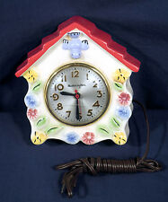 Vintage Mastercrafters Porcelain Hanging Wall Kitchen Clock Bird + Flowers