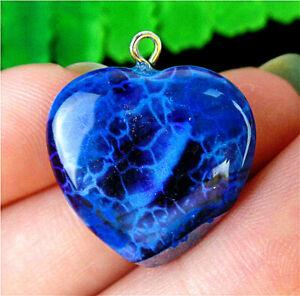 20x20x5mm Black&Blue Dragon Veins Agate Love Heart Pendant Bead AP22199